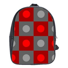 Circles In Squares Pattern School Bag (xl) by LalyLauraFLM