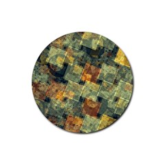 Stars Circles And Squares Rubber Coaster (round) by LalyLauraFLM