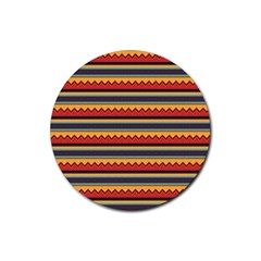 Waves And Stripes Pattern Rubber Round Coaster (4 Pack) by LalyLauraFLM