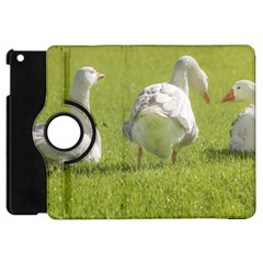 Group Of White Geese Resting On The Grass Apple Ipad Mini Flip 360 Case by dflcprints