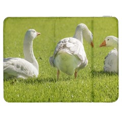 Group of White Geese Resting on the Grass Samsung Galaxy Tab 7  P1000 Flip Case by dflcprints