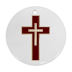 Red Christian Cross Ornament (round) by igorsin