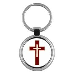 Red Christian Cross Key Chain (round) by igorsin