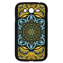 Blue Floral Fractal Samsung Galaxy Grand Duos I9082 Case (black) by igorsin