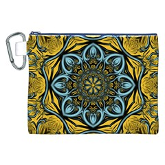 Blue Floral Fractal Canvas Cosmetic Bag (xxl)  by igorsin