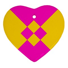 Yellow Pink Shapes Heart Ornament (two Sides) by LalyLauraFLM
