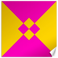 Yellow Pink Shapes Canvas 16  X 16  by LalyLauraFLM