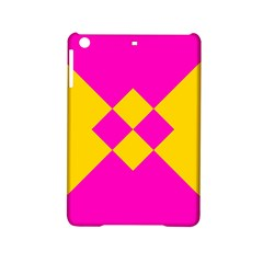 Yellow pink shapes Apple iPad Mini 2 Hardshell Case by LalyLauraFLM