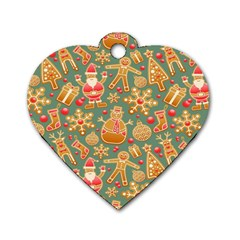 Santa And Friends Pattern Dog Tag Heart (one Side) by LovelyDesigns4U