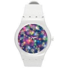 Sparkling Lights Pattern Round Plastic Sport Watch (m) by LovelyDesigns4U