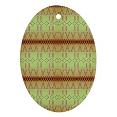 Aztec Pattern Oval Ornament (two Sides) by LalyLauraFLM