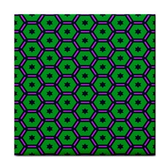 Stars In Hexagons Pattern Tile Coaster by LalyLauraFLM