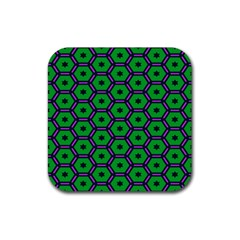 Stars In Hexagons Pattern Rubber Square Coaster (4 Pack) by LalyLauraFLM