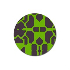 Brown Green Shapes Magnet 3  (round) by LalyLauraFLM