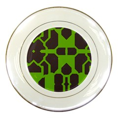 Brown Green Shapes Porcelain Plate by LalyLauraFLM