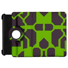 Brown Green Shapes Kindle Fire Hd Flip 360 Case by LalyLauraFLM