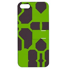 Brown Green Shapes Apple Iphone 5 Hardshell Case With Stand by LalyLauraFLM