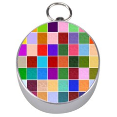 Multi Colour Squares Pattern Silver Compasses by LovelyDesigns4U