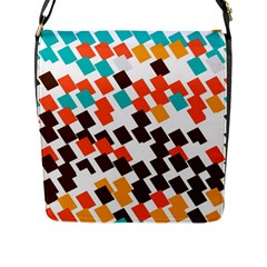 Rectangles On A White Background Flap Closure Messenger Bag (l) by LalyLauraFLM