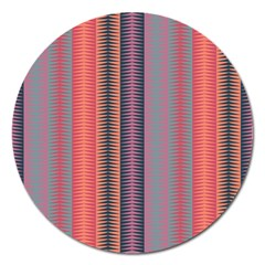 Triangles And Stripes Pattern Magnet 5  (round) by LalyLauraFLM