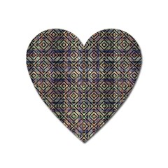 Multicolored Ethnic Check Seamless Pattern Heart Magnet by dflcprints