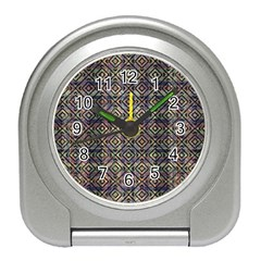 Multicolored Ethnic Check Seamless Pattern Travel Alarm Clocks by dflcprints