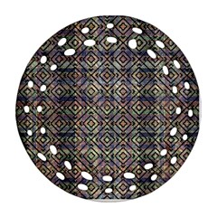 Multicolored Ethnic Check Seamless Pattern Ornament (round Filigree)  by dflcprints