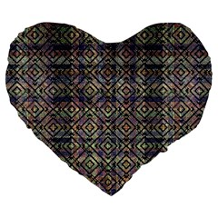 Multicolored Ethnic Check Seamless Pattern Large 19  Premium Flano Heart Shape Cushions by dflcprints