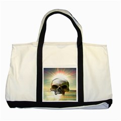 Skull Sunset Two Tone Tote Bag  by icarusismartdesigns