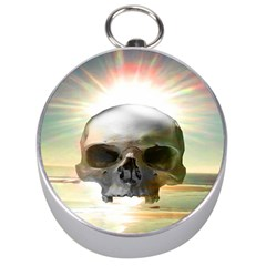 Skull Sunset Silver Compasses by icarusismartdesigns