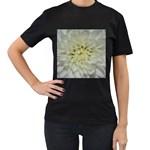 White Flowers Women s T-Shirt (Black) (Two Sided)