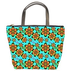 Neon Retro Flowers Aqua Bucket Bags by MoreColorsinLife