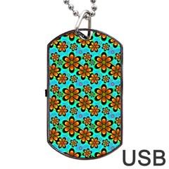 Neon Retro Flowers Aqua Dog Tag USB Flash (Two Sides)  by MoreColorsinLife