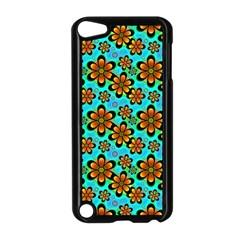 Neon Retro Flowers Aqua Apple Ipod Touch 5 Case (black) by MoreColorsinLife