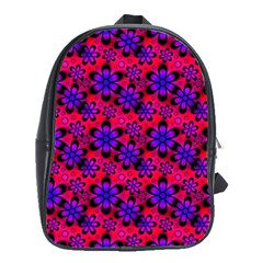 Neon Retro Flowers Pink School Bags(large)  by MoreColorsinLife