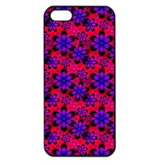 Neon Retro Flowers Pink Apple Iphone 5 Seamless Case (black) by MoreColorsinLife