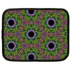 Repeated Geometric Circle Kaleidoscope Netbook Case (large) by canvasngiftshop