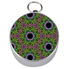 Repeated Geometric Circle Kaleidoscope Silver Compasses by canvasngiftshop
