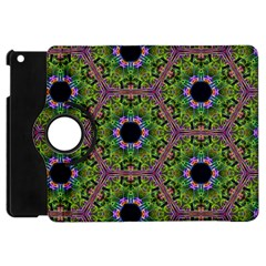 Repeated Geometric Circle Kaleidoscope Apple Ipad Mini Flip 360 Case by canvasngiftshop
