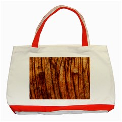 Old Brown Weathered Wood Classic Tote Bag (red)  by trendistuff