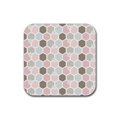 Spring Bee Rubber Square Coaster (4 Pack)  by Kathrinlegg