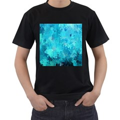 Splashes Of Color, Aqua Men s T Shirt (black) (two Sided) by MoreColorsinLife