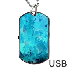 Splashes Of Color, Aqua Dog Tag Usb Flash (two Sides)  by MoreColorsinLife
