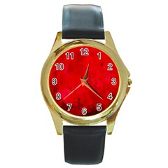 Splashes Of Color, Deep Red Round Gold Metal Watches by MoreColorsinLife