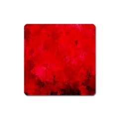 Splashes Of Color, Deep Red Square Magnet by MoreColorsinLife