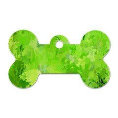 Splashes Of Color, Green Dog Tag Bone (two Sides) by MoreColorsinLife