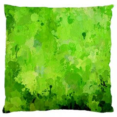 Splashes Of Color, Green Large Flano Cushion Cases (one Side)  by MoreColorsinLife