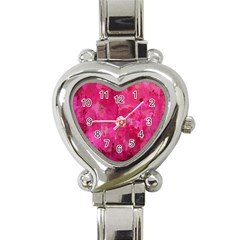 Splashes Of Color, Hot Pink Heart Italian Charm Watch by MoreColorsinLife