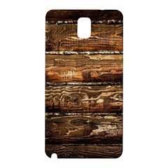 Dark Stained Wood Wall Samsung Galaxy Note 3 N9005 Hardshell Back Case by trendistuff