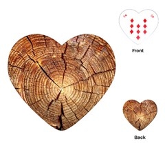 Cross Section Of An Old Tree Playing Cards (heart)  by trendistuff